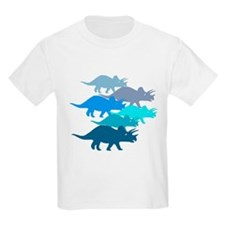 Blue Triceratops Family T-Shirt