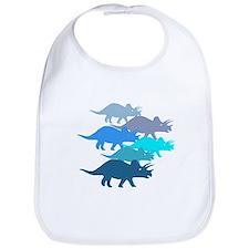 Blue Triceratops Family Bib