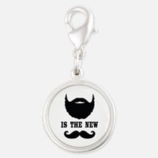 Beard Is New Mustache Silver Round Charm