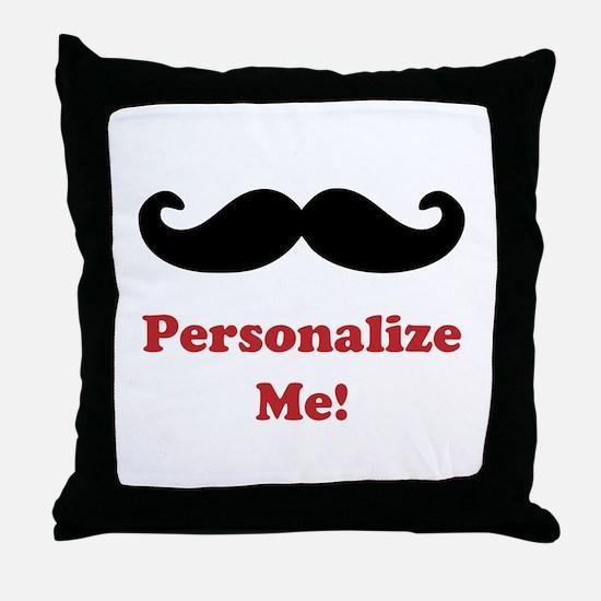 Customizable Mustache Throw Pillow