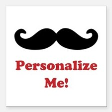 "Customizable Mustache Square Car Magnet 3"" x 3"""