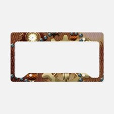 Steampunk , cute owl License Plate Holder