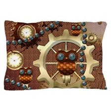 Steampunk , cute owl Pillow Case