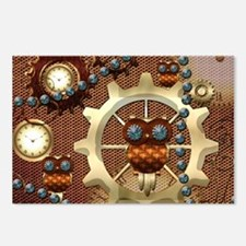 Steampunk , cute owl Postcards (Package of 8)