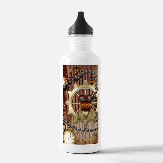 Steampunk , cute owl Water Bottle