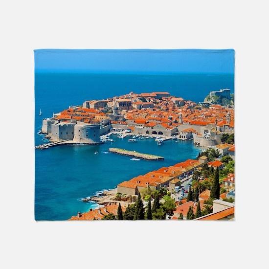 Croatia Harbor Throw Blanket