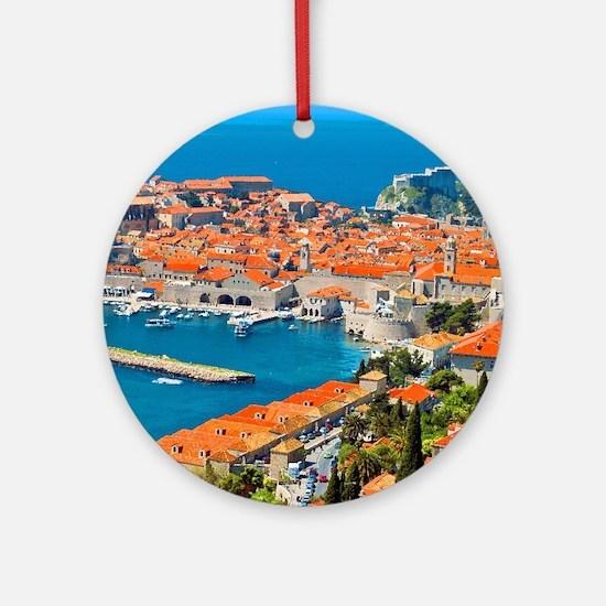 Croatia Harbor  Round Ornament