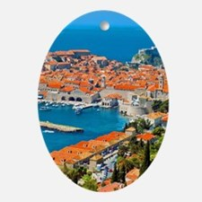 Croatia Harbor Oval Ornament