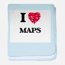 I Love Maps baby blanket