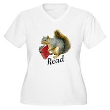 Squirrel Book Read Plus Size T-Shirt