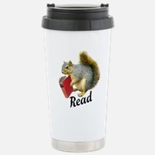 Squirrel Book Read Travel Mug