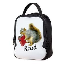 Squirrel Book Read Neoprene Lunch Bag