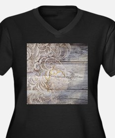 barn wood lace western country Plus Size T-Shirt