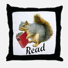 Squirrel Book Read Throw Pillow