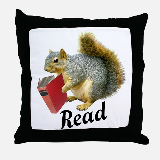 Squirrel Book Read Throw Pillow