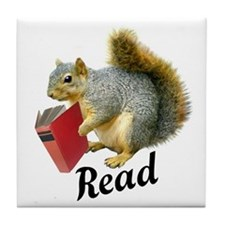 Squirrel Book Read Tile Coaster