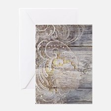 barn wood lace western country Greeting Cards