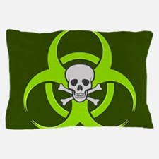 Green Biohazard Skull Pillow Case