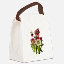 Purple and White Hellebores Canvas Lunch Bag