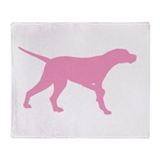 Pink Pointer Dog Throw Blanket