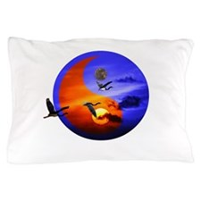 Yin yang - Sunset and herons in fly Pillow Case
