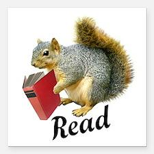 """Squirrel Book Read Square Car Magnet 3"""" x 3"""""""