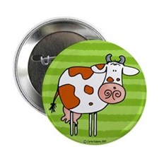Brown cow Button