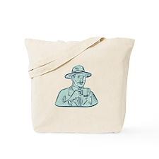 Man Fedora Hat Drinking Coffee Etching Tote Bag