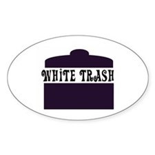 White Trash Can Oval Decal