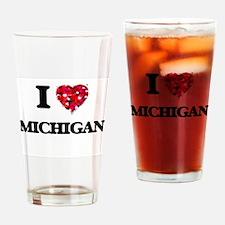 I Love Michigan Drinking Glass
