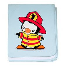 Firefighter Penguin baby blanket