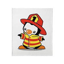 Firefighter Penguin Throw Blanket