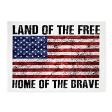 Land Of The Free,Home Of The Brave 5'x7'Area Rug