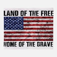 Land Of The Free,Home Of The Brave Throw Blanket