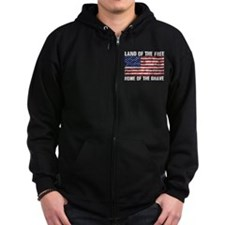 Land Of The Free,Home Of The Brave Zip Hoodie