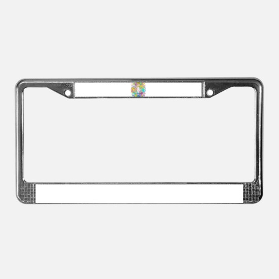colorful circles License Plate Frame