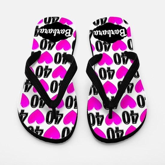 40th Pink Hearts Flip Flops