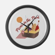 Picnic In Park Large Wall Clock