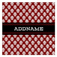 Red and White Damask Person Invitations