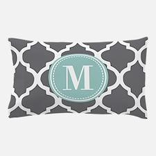 Gray Mint Quatrefoil Monogram Pillow Case