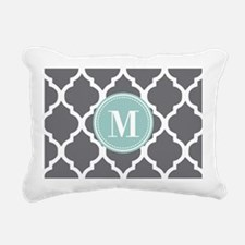 Gray Mint Quatrefoil Mon Rectangular Canvas Pillow