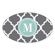 Gray Mint Quatrefoil Monogram Decal