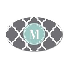 Gray Mint Quatrefoil Monogra Wall Decal