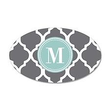 Gray Mint Quatrefoil Monogra Wall Decal