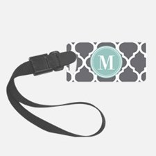 Gray Mint Quatrefoil Monogram Luggage Tag