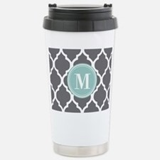 Gray Mint Quatrefoil Mo Stainless Steel Travel Mug