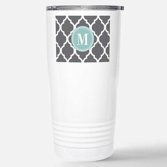 Gray Mint Quatrefoil Mo Stainless Steel Travel Mug