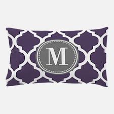 Purple & Gray Quatrefoil Monogram Pillow Case