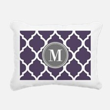 Purple & Gray Quatrefoil Rectangular Canvas Pillow