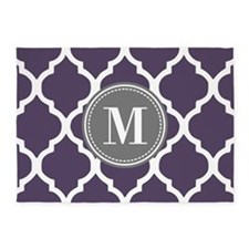 Purple & Gray Quatrefoil Monogram 5'x7'Area Rug